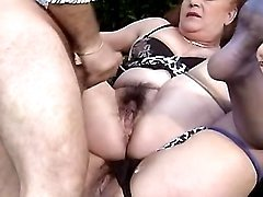 Grannies get cum on pussies outdoor