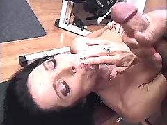 Brunette mature fucks in all holes and gets facial