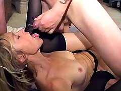 Mature in black stockings gets facial after fuck