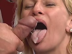 Blonde mature tastes cum after fuck in diff poses