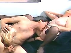 Blonde and brunette lewd matures give hot blowjob