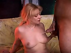 Blonde milf getting cumshot on tits after cool sex