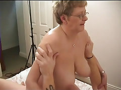 Granny with huge tits goes hardcore